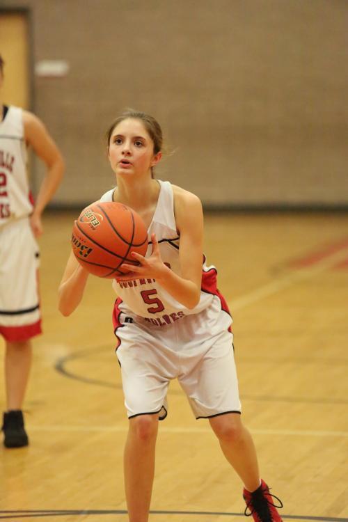 Carlie Rosenkrance singed the nets for 13 in the girls Jv game.