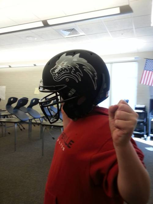 Sawyer Maggio models the new CHS football helmets. (Tony Maggio photo)
