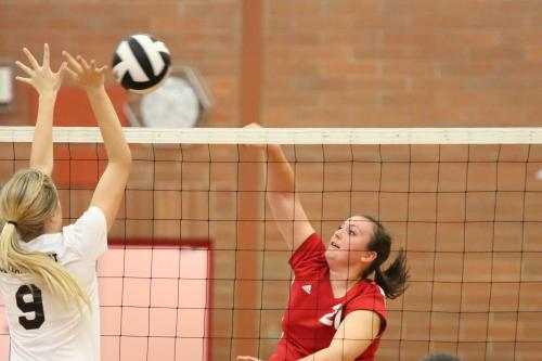 Hailey Hammer (right), doin' what she does -- beatin' the snot out of the volleyball.