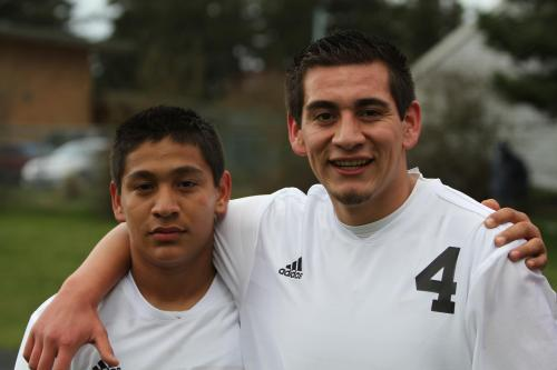 Oscar Liquidano (right) with younger brother Uriel during last year's soccer season. (John Fisken photo)
