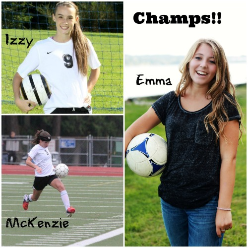 State soccer champs Izzy Severns, McKenzie Cook and Emma Laurion.