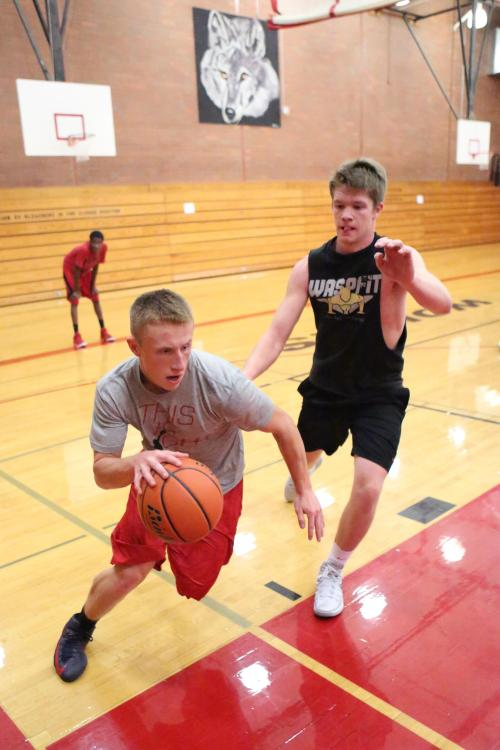 """Martin drives the baseline looking for two, while Matt Shank prepares to unleash a little blocked shot special he likes to call """"Make Your Mama Cry."""""""