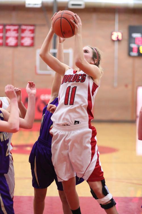 Julia Myers yanks down another rebound. (John Fisken photos)