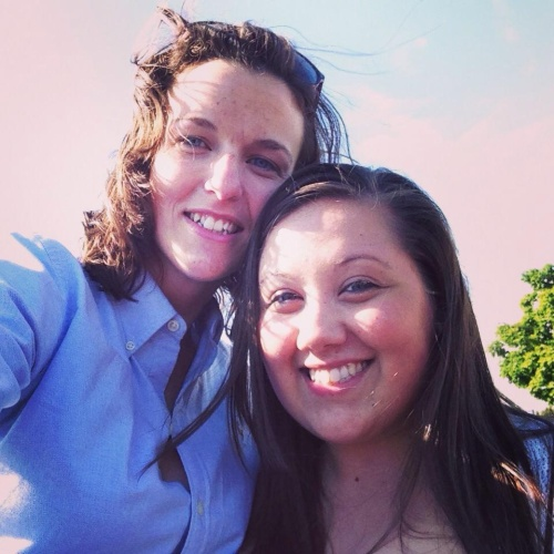 Brittany Black (left) and girlfriend Megan King.