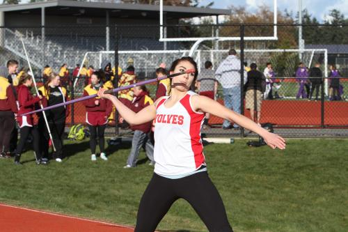 Miller unleashes the javelin during her junior track season.