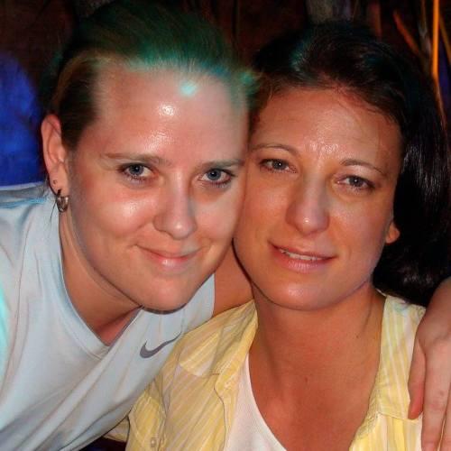 Ann Pettit (left) with partner Christina Parker.
