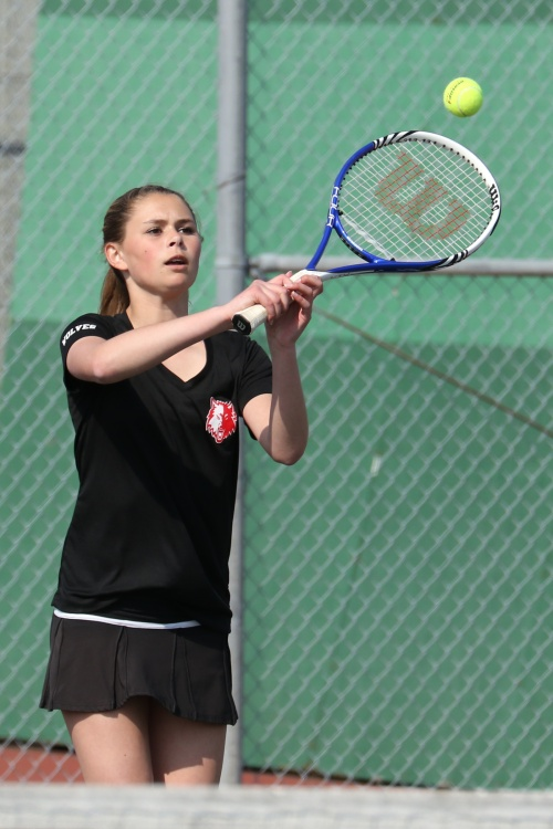Payton Aparicio, seen here in sunnier times, and her teammates were rained out midway through their match Tuesday. (John Fisken photo)