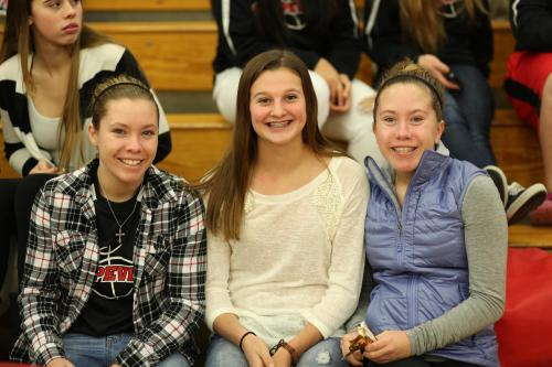 Lauren (left) and Kayla with non-twin Lindsey Roberts.