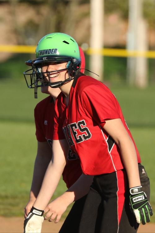 Katrina McGranahan smacked a homer run and three doubles Monday. (John Fisken photos)