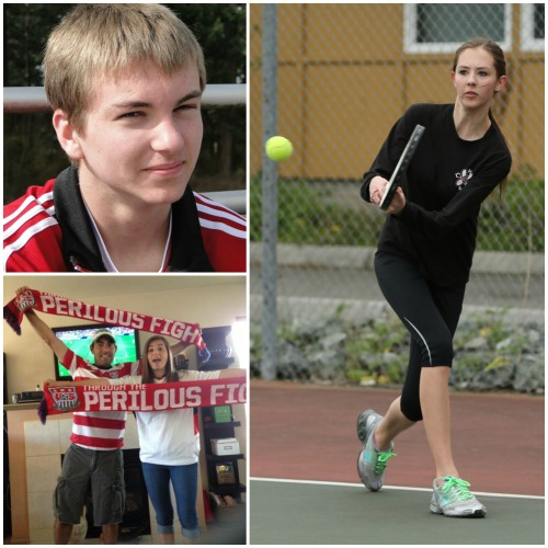 Birthday trio (clockwise from top left) Connor McCormick, Allie Hanigan and Sean LeVine.