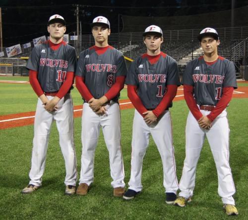 Wolf seniors (l to r) Aaron Curtin, Aaron Trumbull, Josh Bayne and Bodamer
