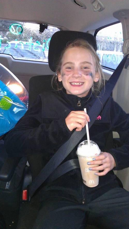 Isabelle Wells enjoys a post-tourney milk shake. (Katy Wells photo)