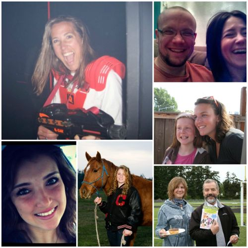 Toni Crebbin (with blaster) joins fellow Hall of Famers (clockwise from upper right) Mike Meyer, Brittany Black, Paul Mendes, Marie Hesselgrave and Jessica Riddle.