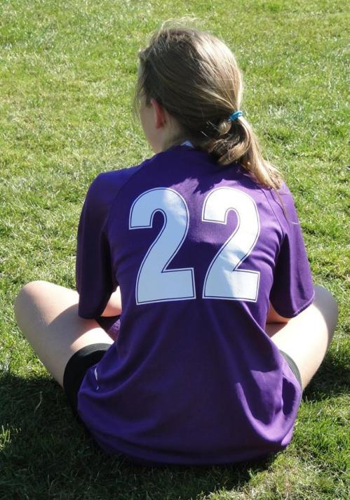 Daydreaming of all the goals she's about to score.