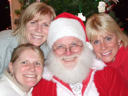 Santa and his three daughters (clockwoise from lower left) Christi, Barbi and Aimee.
