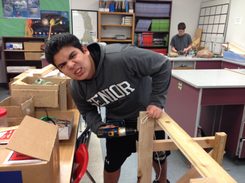 Jose Marcos, who was part of Coupeville's winning Wind Power team, works on a project.