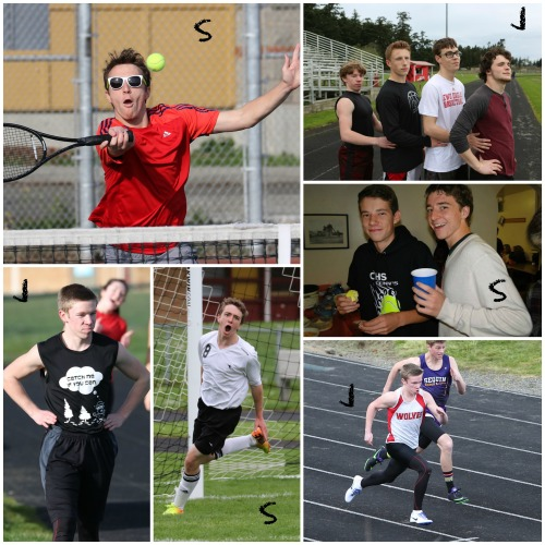 Birthday boys Sebastian Davis (S) and Jacob Smith (J) team up for a collage. (John Fisken and Wendy McCormick photos)