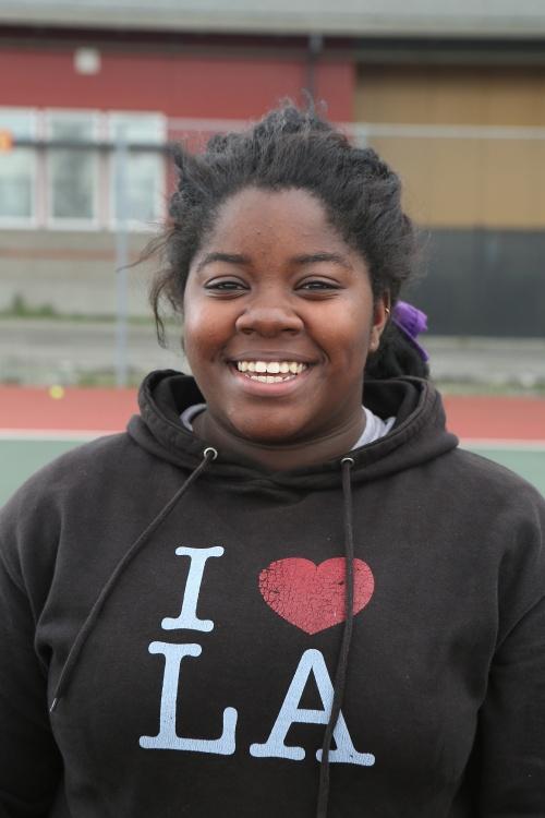 Jazmine Franklin teamed with McKenzie Bailey for a match-deciding win Monday. (John Fisken photo)