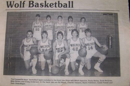 Coupeville High School's '84 boys' basketball squad. (Photo courtesy Moose Moran)