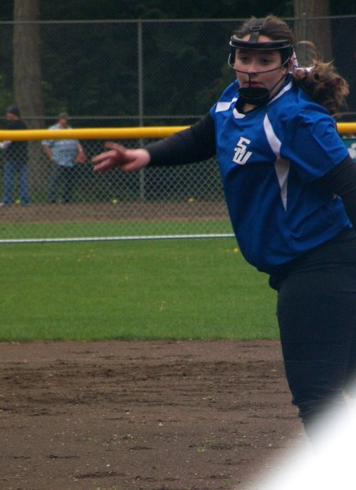 South Whidbey's pitcher, a rival on this day, played all-stars with the Coupeville girls last summer.