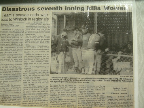 The end of the road for the '91 Wolf baseball squad.