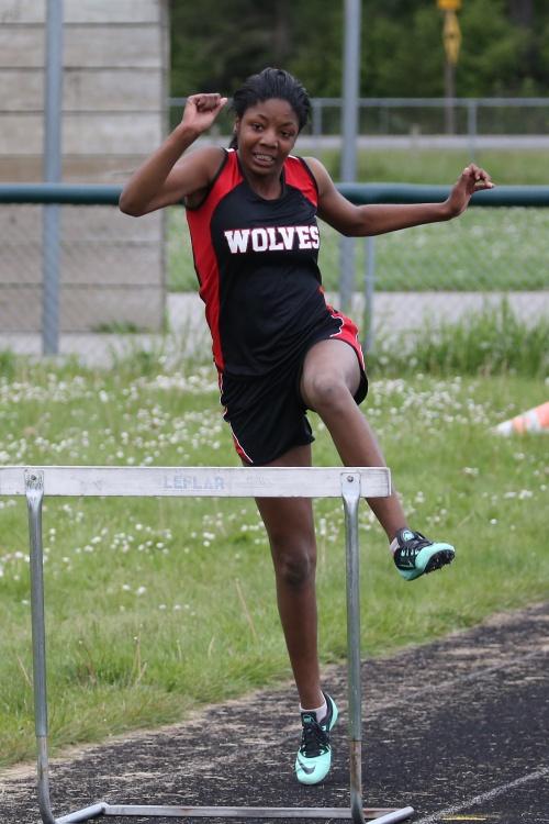 Ja'Tarya Hoskins, seen here during practice, set a PR in the 75 meter hurdles Tuesday. (John Fisken photo)