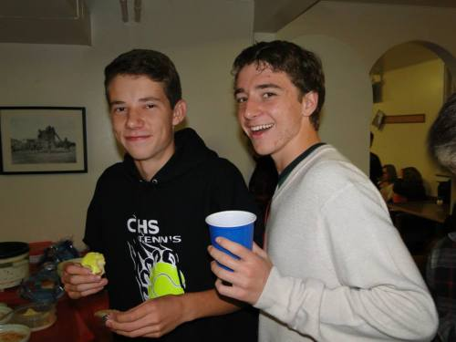 Davis and teammate Loren Nelson enjoy the fruits of their labors at a tennis banquet. (Wendy McCormick photo)