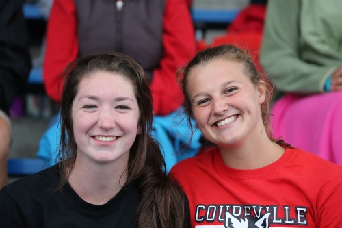 Lindsey Roberts (right), seen here with teammate Ashlie Shank, is state-bound in three events.