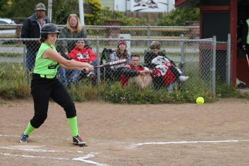 Rebischke-Smith lashes a base hit.