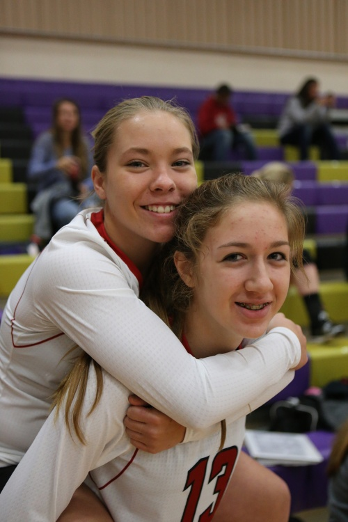 Lauren Rose (left), Emma Smith and the CHS spikers will play five straight matches at home to start next season. (John Fisken photos)