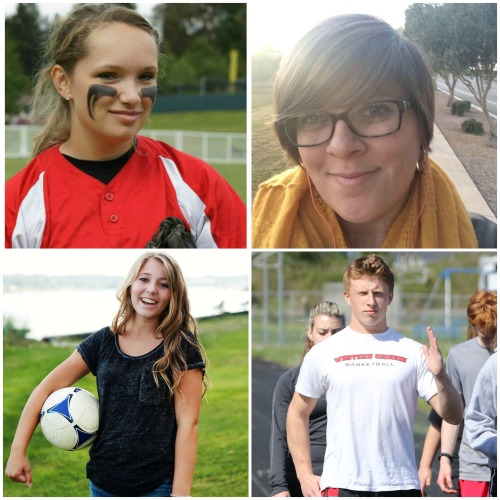 Hall o' Fame inductees (clockwise, starting in top left) Alexis Trumbull, Tracy (Taylor) Corona, Dalton Martin and Emma Laurion.