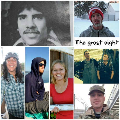 CHS state track champs (clockwise from top left) Jeff Fielding, Kyle King, Steven McDonald, Chris Hutchinson, Jon Chittim, Amy (Mouw) Fasolo, Tyler King, Natasha Bamberger.
