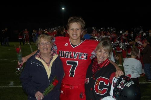 Bundy celebrates Senior Night with family.