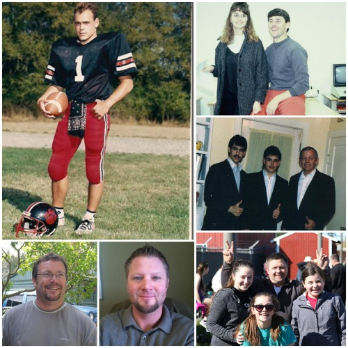 Today and yesterday, the football players of 1986. Mitch Aparicio (1) is joined by clockwise from top right, David Ford, his brother Marc, Rusty Bailey, Jay Roberts and Brad Trumbull.