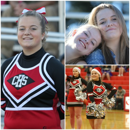 Kaela Hollrigel (and cheer buddy Mckenzie Meyer). (John Fisken photos)