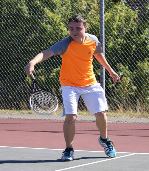 Grey Rische teamed with doubled partner Jimmy Myers for a straight sets win Tuesday at Port Angeles. (John Fisken photo)