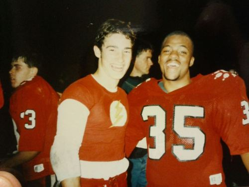"""Flash,"" back in his CHS football prime, with teammate Jomo Simpkins."