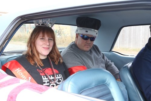 Homecoming Duchess Arlana Nielsen and Duke Chad Felgar prepare to hit the open road.