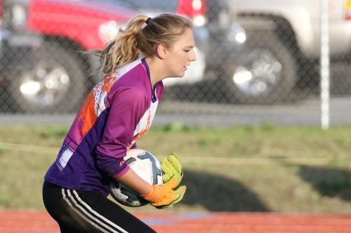 Coupeville High School goalie Lauren Grove stays busy in the net. (John Fisken photo)