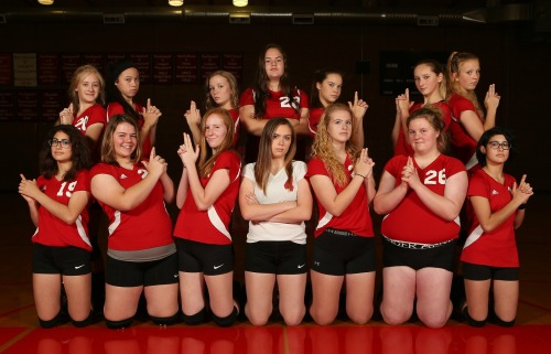 Best in the biz. 14 of the 15 girls who played in a Wolf JV volleyball match this season. (John Fisken photo)