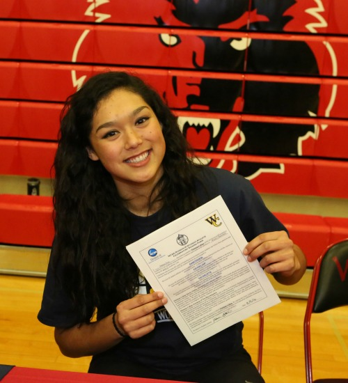 Makana Stone, seen here on signing day, lit up the joint during her first college basketball game. (Sylvia Hurlburt photo)