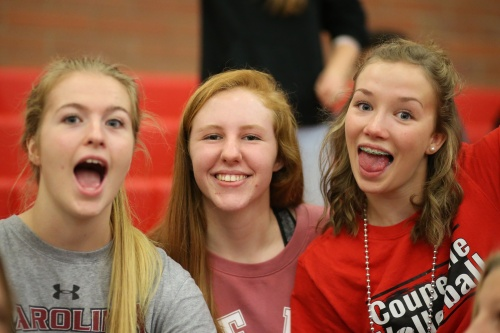 Vondrak, hanging out with teammates Hannah Davidson (left) and Lucy Sandahl during volleyball season.