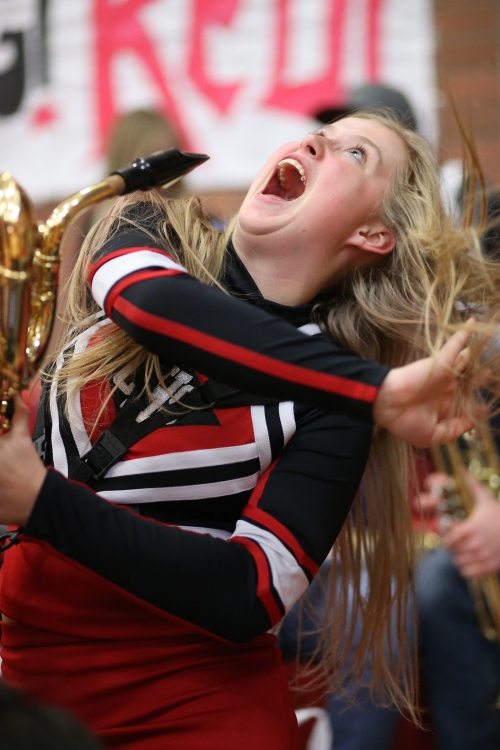 CHS cheerleader Mckenzie Meyer offers an interpretive dance version of what it would be like to be on a ferry right now. (John Fisken photo)