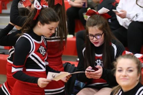 Natasha Estes (left) and Claire Mietus have a deep discussion about the program.
