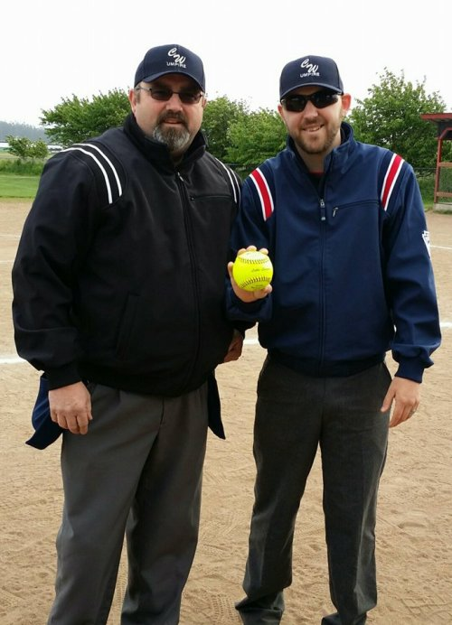 You, yes you, could join the umpiring ranks of Jim (left) and Joel Wheat. (Connie Lippo photo)