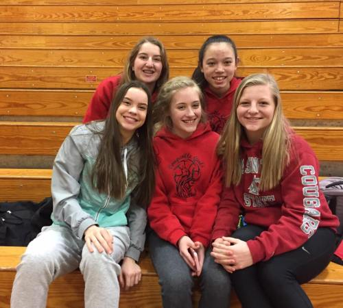 The Fab Five Frosh are (back, l to r) Tia Wurzrainer, Scout Smith and (front) Maya Toomey-Stout, Emma Mathusek and Avalon Renninger.